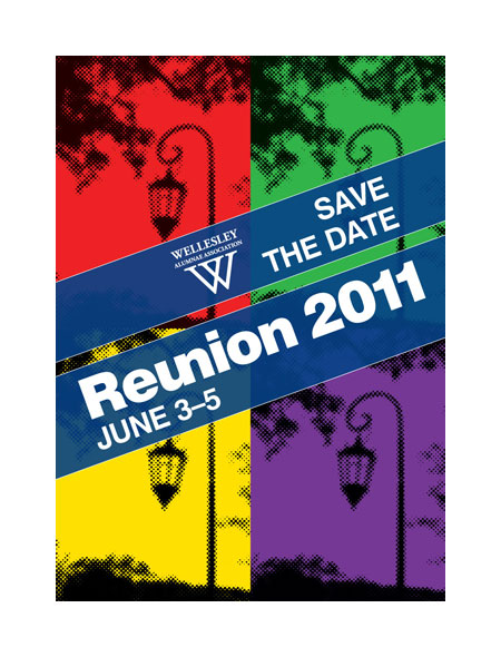 Wellesley Reunion save the date postcard